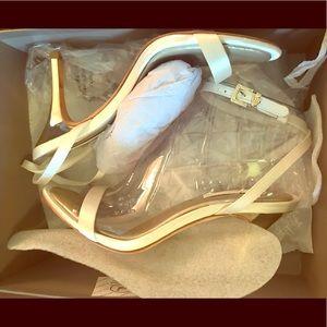 White Satin MA-Palace BCBG heels 9M